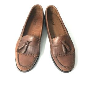 Bass Bombay Leather Brown Tassel Loafers Mens 11D